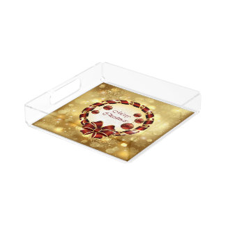 Golden & Red Christmas Wreath with Bow & Snowflake Acrylic Tray