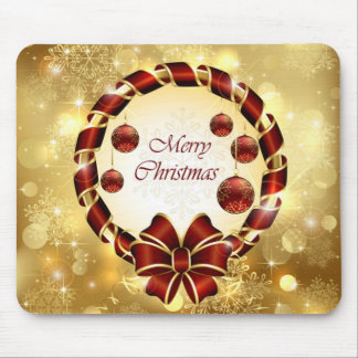 Golden & Red christmas Wreath with Bow & Snowflake Mouse Pad