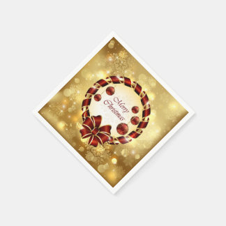 Golden & Red christmas Wreath with Bow & Snowflake Paper Serviettes