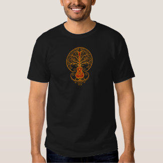 Golden Red Guitar Tree of Life T-shirts