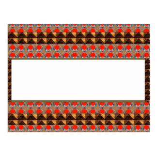 Golden RED Jewel Border: Add GREETING Text r Image Postcard