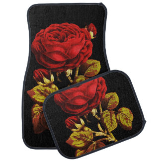 Golden Red Painted Rose Car Mat