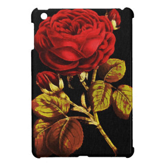Golden Red Painted Rose Cover For The iPad Mini