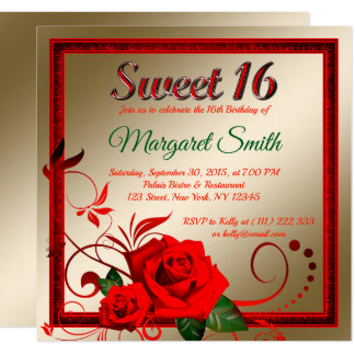 Golden red rose sweet 16 invitation