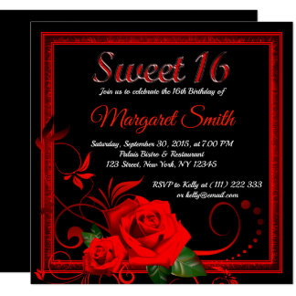 Golden red rose sweet 16 invitation v2