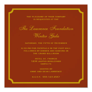 Golden red square frame corporate holiday formal 13 cm x 13 cm square invitation card