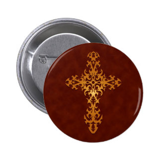 Golden Red Tribal Gothic Cross Pins