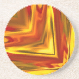 golden reflection red orange abstract mandala coaster