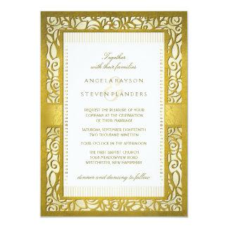 Golden Regal Deco Border Wedding Invitation