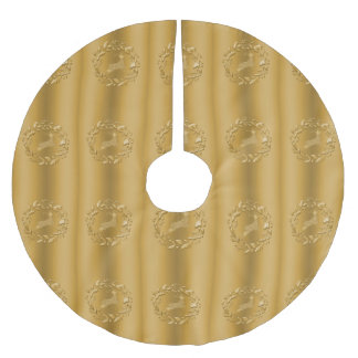 Golden Reindeer and Wreath Christmas Brushed Polyester Tree Skirt