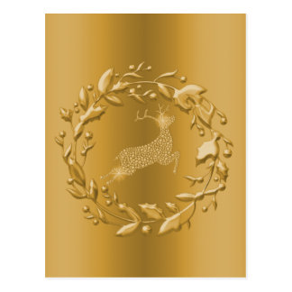 Golden Reindeer and Wreath Christmas Postcard