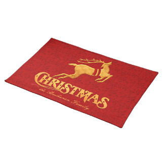 Golden Reindeer Family Christmas with Red Placemat