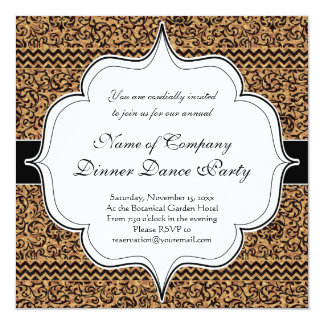 Golden Renaissance Tudor Gardens Damask Floral 13 Cm X 13 Cm Square Invitation Card