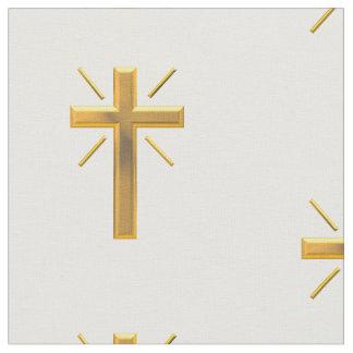Golden Resurrection Cross Fabric