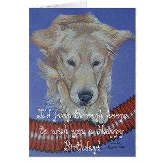 Golden Retreiver Agility Happy Birthday Card