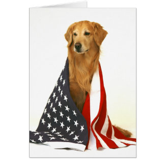 Golden Retriever and American Flag Greeting Card