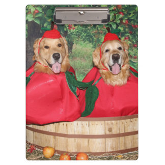 Golden Retriever Apples in a Basket Clipboard