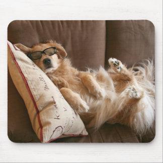 Golden Retriever Asleep on Pillow Mouse Pad