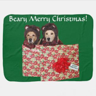 Golden Retriever Beary Merry Christmas Pramblanket
