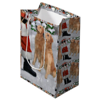 Golden Retriever Believe Christmas Medium Gift Bag