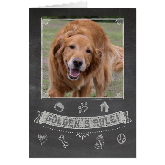 Golden Retriever Chalkboard Birthday Card