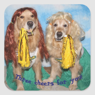 Golden Retriever Cheerleaders Three Cheers for You Square Sticker