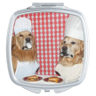 Golden Retriever Cheeseburger Chefs Vanity Mirror