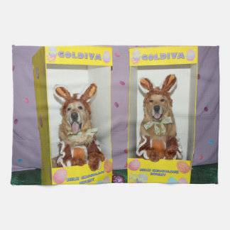 Golden Retriever Chocolate Rabbits in Boxes Tea Towel