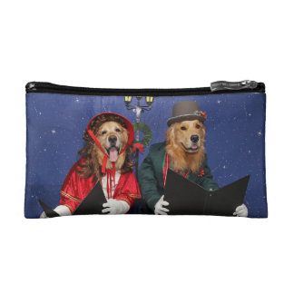 Golden Retriever Christmas Carolers Cosmetic Bag