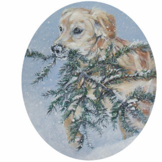 golden retriever Christmas Ornament Photo Sculpture Decoration
