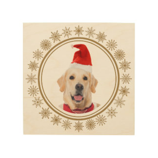 Golden Retriever Christmas Santa Hat Dog Lover Wood Print