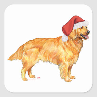 Golden Retriever Christmas Square Sticker