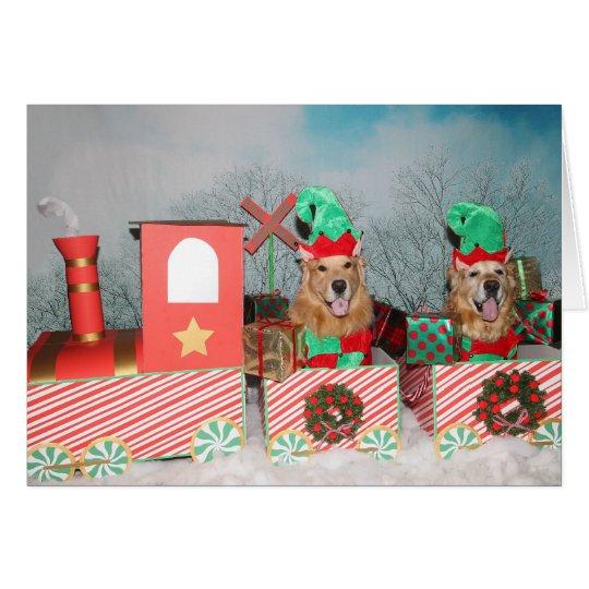 Golden Retriever Christmas Train Card