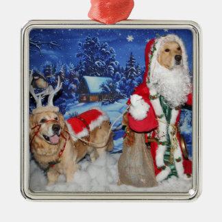 Golden Retriever Christmas Victorian Santa Metal Ornament