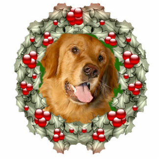 Golden Retriever Christmas wreath Photo Sculpture Decoration