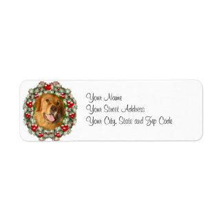 Golden Retriever Christmas wreath Return Address Label