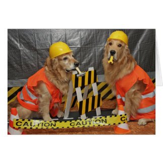 Golden Retriever Construction Birthday Card