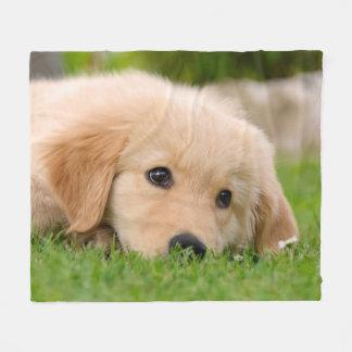 Golden Retriever Cute Puppy Dreaming,  cozy Fleece Blanket