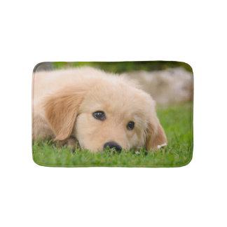 Golden Retriever Cute Puppy Dreaming Meadow, Small Bath Mat