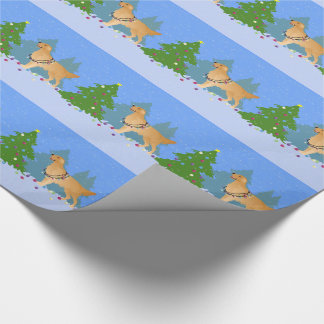 Golden Retriever Decorating Christmas Tree Wrapping Paper