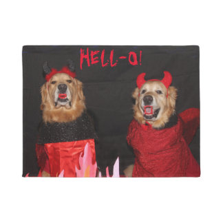 Golden Retriever Devils Hell-O Doormat