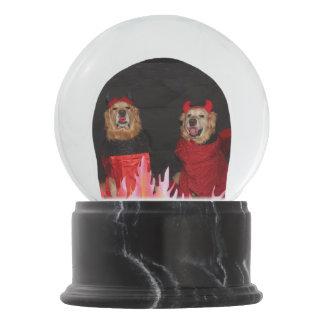 Golden Retriever Devils in Flames Snow Globe