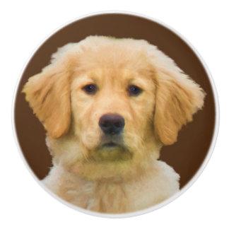 Golden Retriever Dog Ceramic Knob
