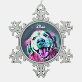Golden Retriever Dog Custom Year Neon Colors Snowflake Pewter Christmas Ornament