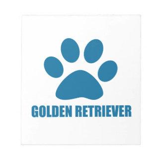 GOLDEN RETRIEVER DOG DESIGNS NOTEPAD