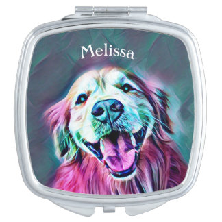 Golden Retriever Dog in Neon Colors Custom Makeup Mirror