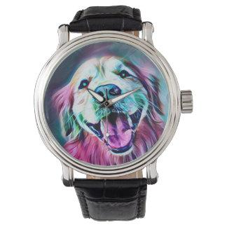 Golden Retriever Dog in Neon Colors Watch