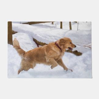 Golden Retriever Dog in the Snow Doormat