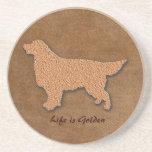 Golden Retriever Dog Life is Golden Drink Coasters