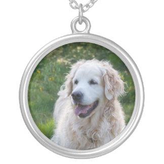Golden Retriever dog necklace, gift idea Round Pendant Necklace